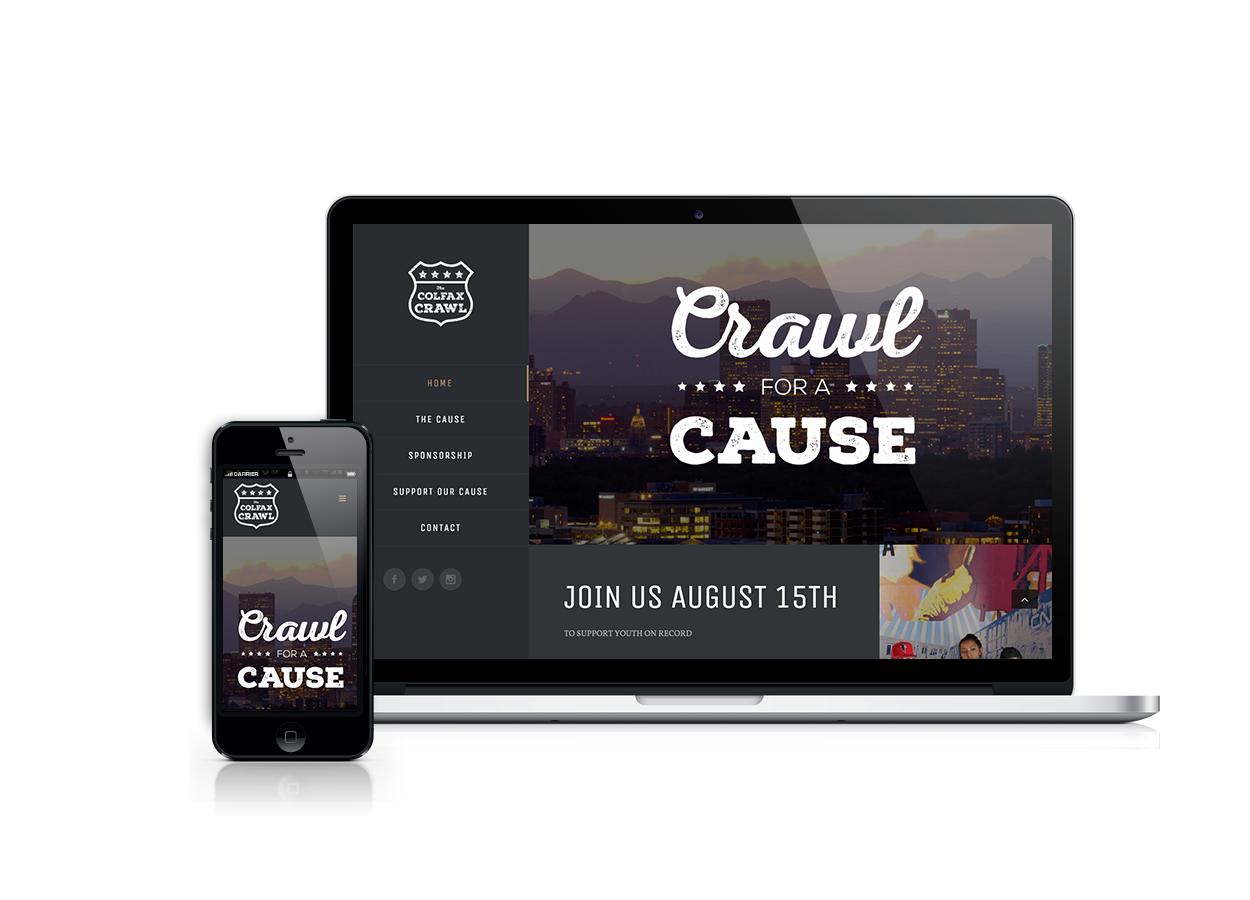 Colfax Crawl screen mockups